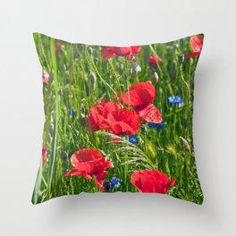 RED POPPY SOUND Throw Pillow