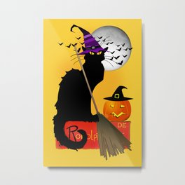 Le Chat Noir - Halloween Witch Metal Print