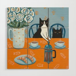 Cats and a French Press Wood Wall Art