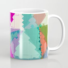 geometric square pixel and triangle pattern abstract in pink green blue Coffee Mug
