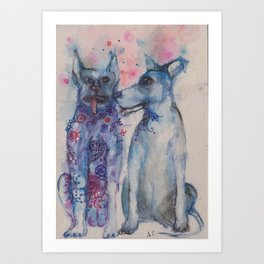 Ink Animals of Africa - Township Dogs Art Print