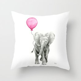 Baby Elephant with Pink Balloon Throw Pillow