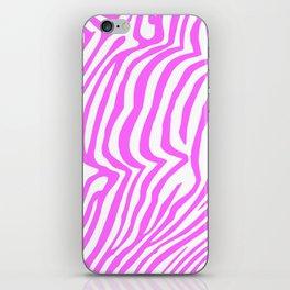 Pink neon color zebra pattern iPhone Skin