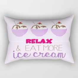 Relax & Eat More Ice Cream in Purple Rectangular Pillow