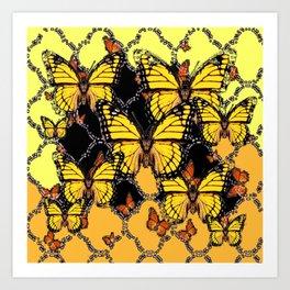 BLACK-GOLDEN YELLOW BUTTERFLIES ART Art Print
