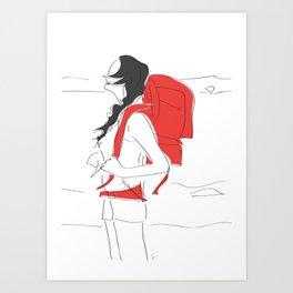Backpacking Travel Girl Art Print