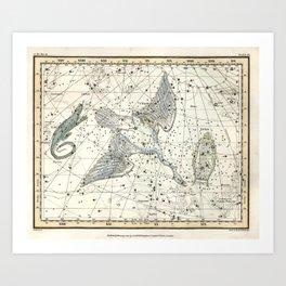 Constellations Lacerta, Cygnus, Lyra Celestial Atlas Plate 11 - Alexander Jamieson Art Print
