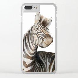 Zebras Watercolor Clear iPhone Case