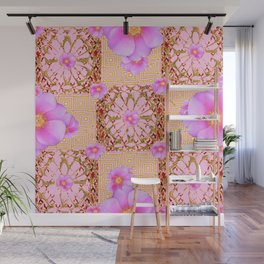 Delicate French Style Fuchsia Pink Wild Rose Gold Jewelry Abstract Wall Mural