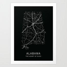 Alabama State Road Map Art Print