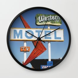 Western Motel Print Wall Clock