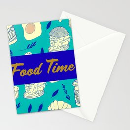Blue Food Time Pattern Stationery Cards