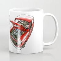 mini cooper Mugs featuring Mini Cooper Classic in Red by Swasky