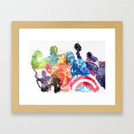 Iconic Comic Book Super Heroes ft. Iron Man  Framed Art Print