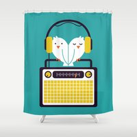 radio Shower Curtains featuring Radio Mode Love by Picomodi