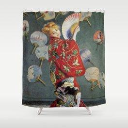 Art Madame Monet Wearing a Kimono Claude Monet 1875 Shower Curtain
