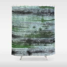 Gray green striped abstract Shower Curtain