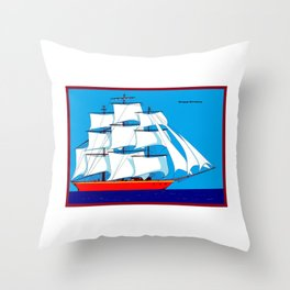 Clipper Ship in Sunny Sky - Happy Birthday on some items Throw Pillow