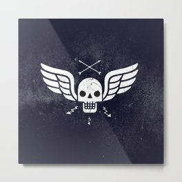 Death Rider Winged Skull with Arrows Metal Print