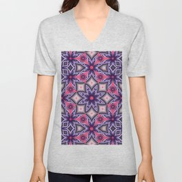 Flowers and Diamonds in purple and Pink Unisex V-Neck