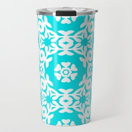 Woodblock Floral Trellis, Georgian Style 1800s - Turquoise and White Travel Mug