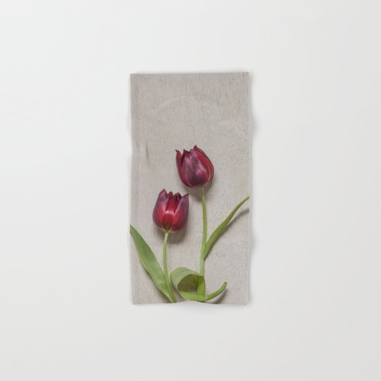 Two Red Tulips I Hand & Bath Towel