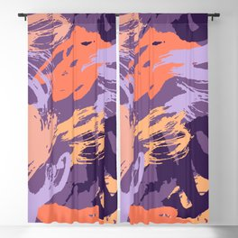 Purple and Coral Abstract Brush Stroke Pattern Blackout Curtain