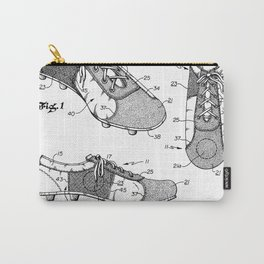 Soccer Boots Patent - Football Boots Art - Black And White Carry-All Pouch