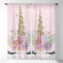 Floral Trendy Modern Unicorn Horn Gold Confetti Sheer Curtain
