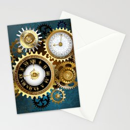 Two Steampunk Clocks with Gears Stationery Cards