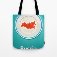 russia Tote Bags featuring Food: Russia by Dmitriy Turovskiy (pushok12)