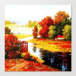 Tardis Lost At The River Canvas Print