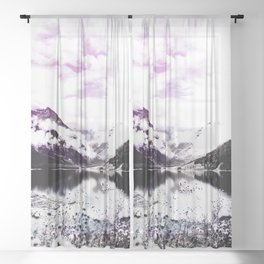 lakeside view purple wine color tinted landscape abstract nature photography Sheer Curtain