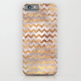 Elegant chic faux gold chevron marble pattern iPhone Case