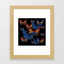 BLACK-BROWN  & BLUE BUTTERFLIES ART Framed Art Print