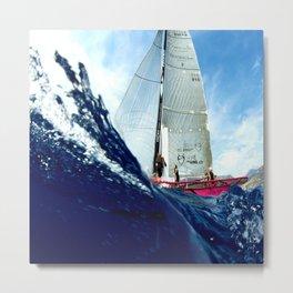 Deep Blue Sail Cote d'Azur Metal Print