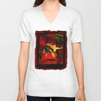 boxing V-neck T-shirts featuring Boxing Sagittarius by Genco Demirer