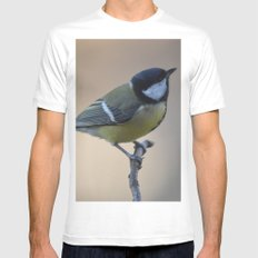 Great Tit MEDIUM Mens Fitted Tee White