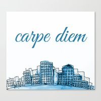 carpe diem Canvas Prints featuring Carpe Diem by Mankind Design
