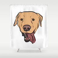 levi Shower Curtains featuring Levi the Yellow Lab by Rachel Barrett