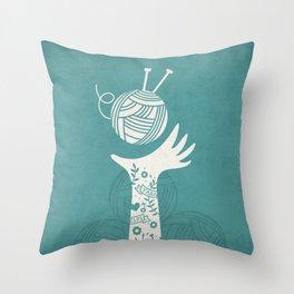 Yarn Love - Teal  Throw Pillow