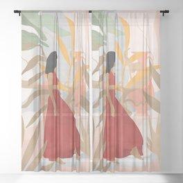 Lady Powers #illustration #Art Print Sheer Curtain