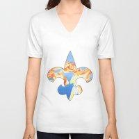 fleur de lis V-neck T-shirts featuring Fleur De Lis Goldfish by KristinMillerArt
