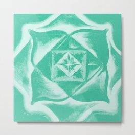 Four corners - Balancing square - Aqua green Metal Print