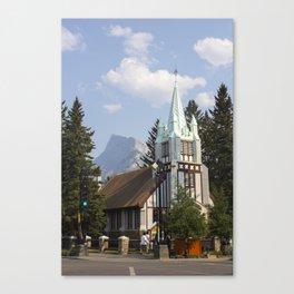 st paul's presbyterian church with mount rundle Canvas Print