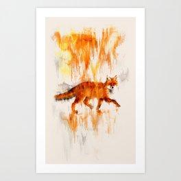 Rain Fox Art Print