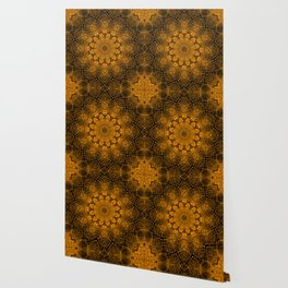 Black and yellowbrown kaleidoscope Wallpaper