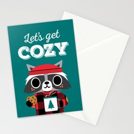 Raccoon in Red Buffalo Plaid Sweater Stationery Cards