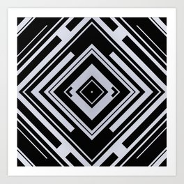 Black and White Tribal Pattern Diamond Shapes Geometric Geometry Contrast II Art Print
