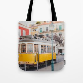 Yellow Tram in Lisbon Tote Bag